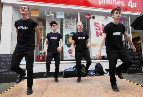 L to R: Chris Sparkes, Matt Hill, Joao Carolino and Scott Miller tap danced non-stop for six hours to raise money for Naomi House.