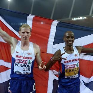 Andy Vernon, left, and Mo Farah, right, were part of a highly-successful night for Great Britain