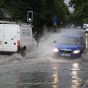 A flooded road in Lewisham, south-east