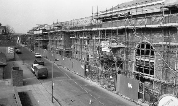 The Swan Centre in Eastleigh being built in 1989