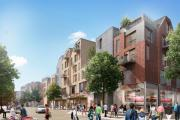 An artist's impression of Friarsgate from Middle Brook Street after Silver Hill is complete