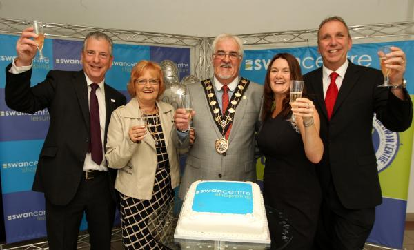 Eastleigh MP Mike Thornton and Mayor and Mayoress Tony and Janice Noyce celebrate the Swan Centre anniversary with accounts manager Andrea Williamson and operations manager John Parker