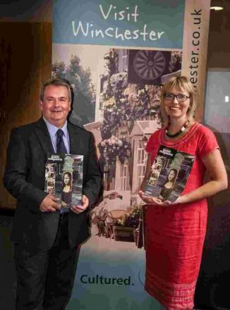 Cllr Robert Humby, Leader of Winchester City Council and Portfolio Holder for Tourism and Economic Development and Tina Scahill, Creative Director at The Marketing Collective launch The Winchesters Guest Magazine