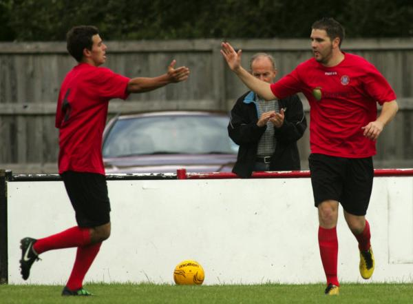Darryl Phillips, right, was on target for new Wessex League leaders Brockenhurst