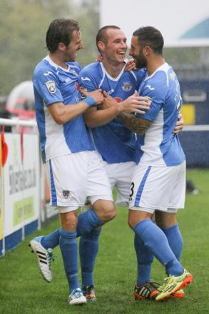 James Constable, centre, is congratulated after his second goal against Welling.