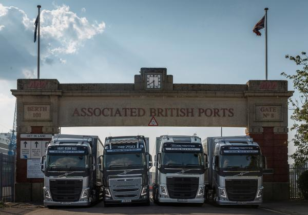 The trucks line up at the port entrance in Southampton after racing 700 miles from Scotland