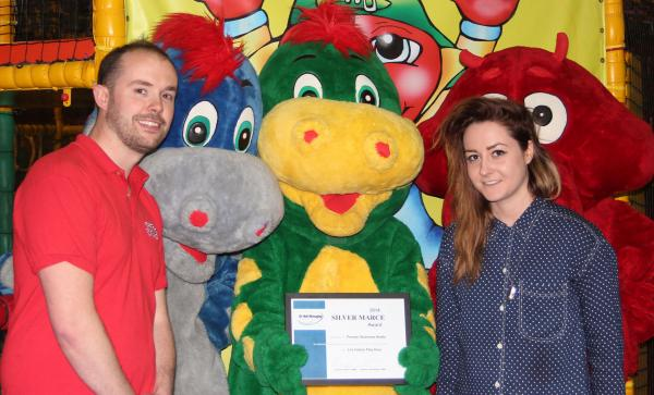 James Burns, JJ's play centre manager with Harriet Cawson