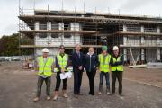 Taking shape: staff and contractors at St Swithun's Junior School site.