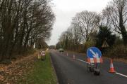 Part of Andover Road North has been cut to one lane as work begins