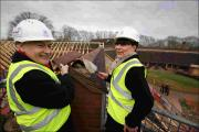 Appeal patron Alastair Stewart placed the tile on the hospice's new roof.