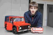 Angus French has built a 50cm by 35cm radio-controlled land rover from scratch and taken home a silver medal and junior cup from the Model Engineer Exhibition and Competition