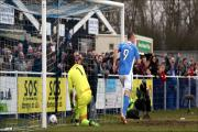 James Constable celebrates Eastleigh's second goal