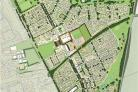 The county council masterplan for Barton Farm. The academy site is outlined in red.