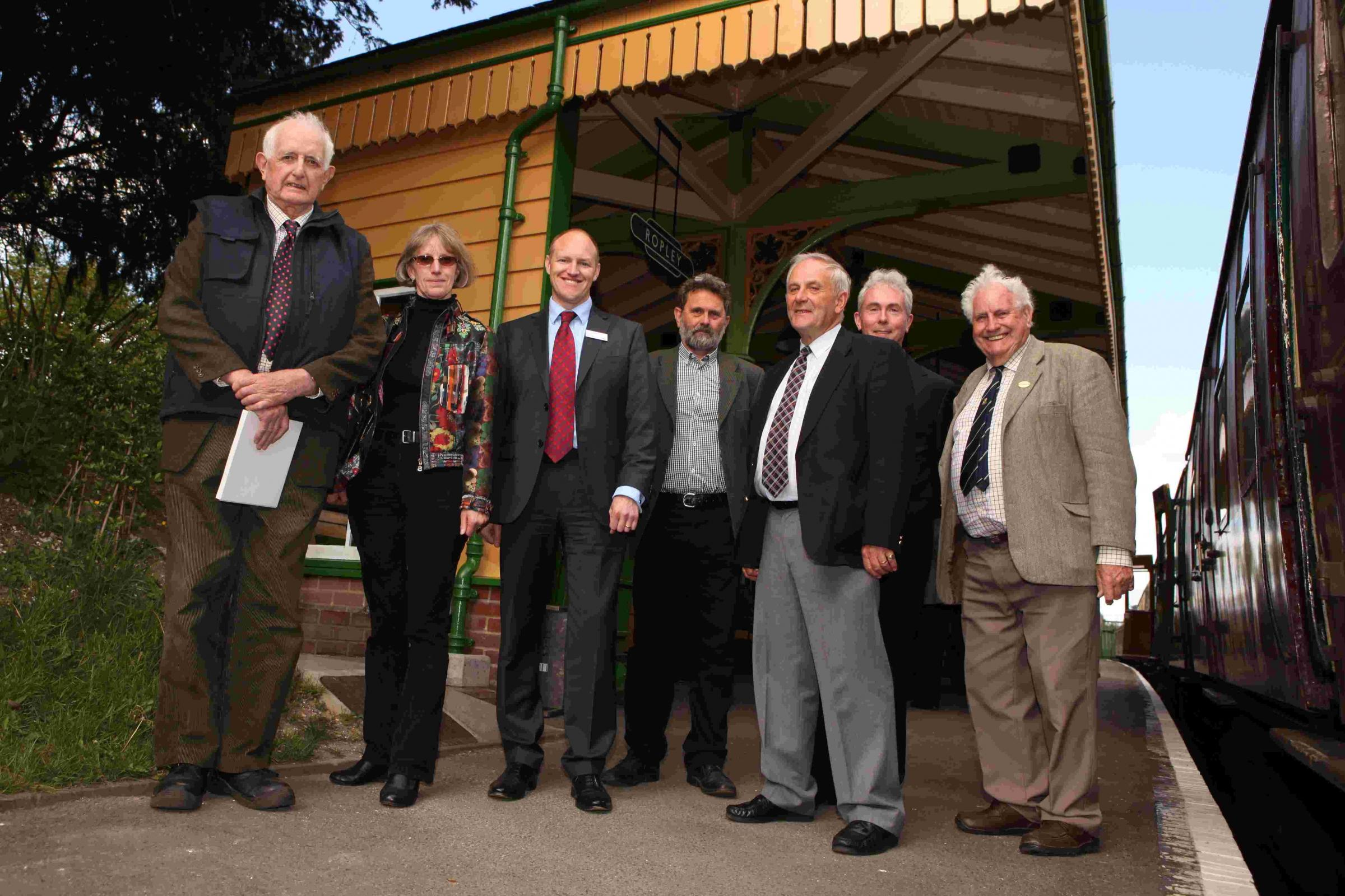 Members of the Mid Hants Railway Preservation Society and Hampshire Railway Ltd at the official opening.