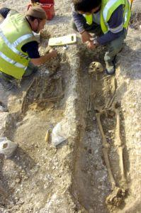 Archaeologists examine remains at the Twyford School site