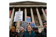 Protesters outside the National Gallery in a row over the privatisation of services