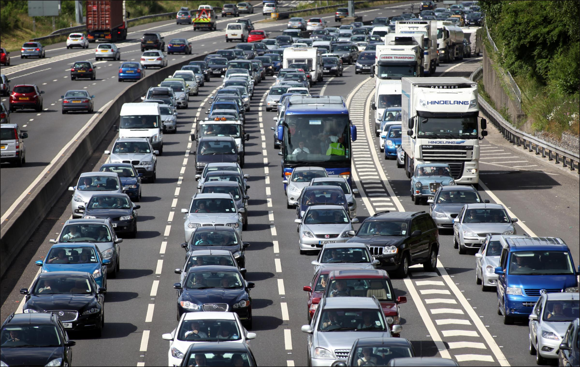 Motorway gridlock following multi car collision