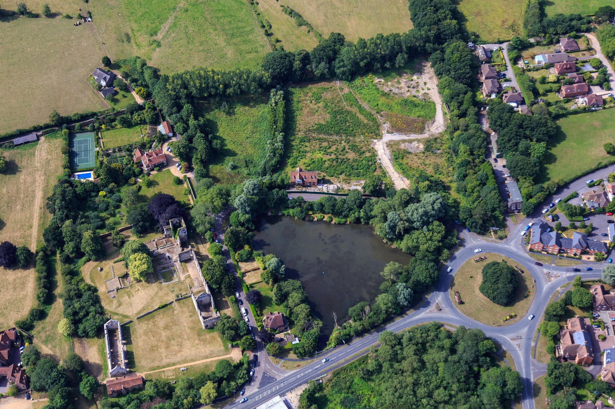 Aerial view of the Abbey Mill site