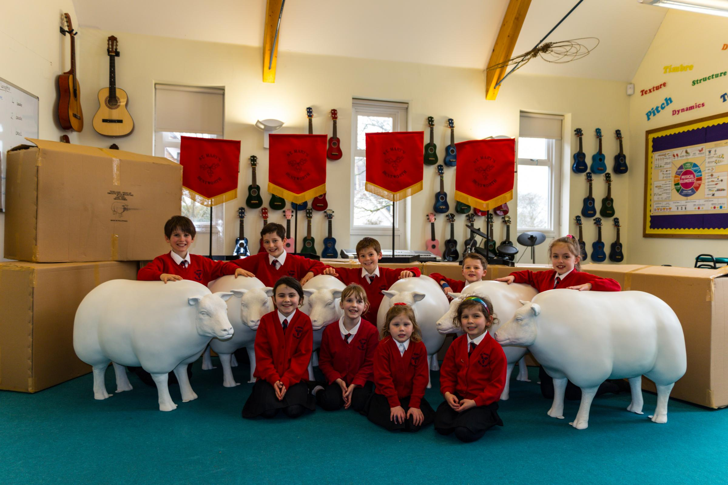 Fibreglass sheep at St Mary's Bentworth near Alton, which is part of the Ewe Matter project