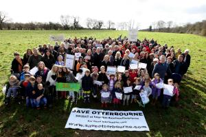 Save Otterbourne campigners in the field behind the Old Forge pub where a housing development is proposed.                 Picture: Chris Moorhouse.