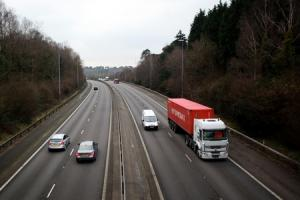 The Chilworth Road bridge over the M3 where an object was thrown onto the motorway. Wednesday 9th January 2013..