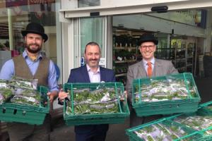 First watercress delivery of the year to Tesco at Winnall. (L to R) James Harper, of The Watercress Company, Jon Roberts, manager for the Tesco Winchester Extra store and Tom Amery, MD of The Watercress Company