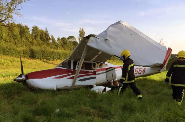 The crashed aircraft this morning. Photo: Hampshire Fire and Rescue Service
