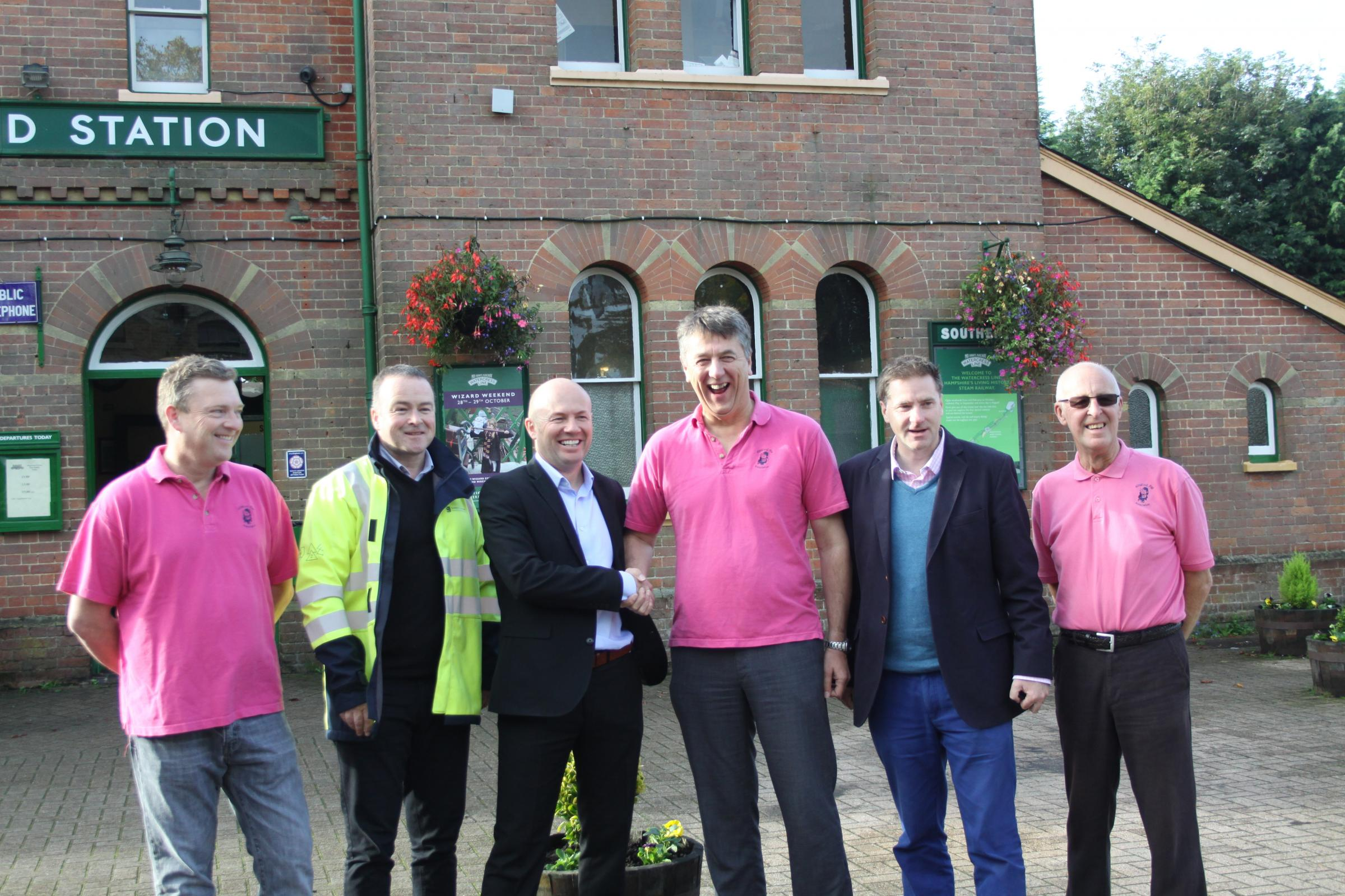 (from left to right); Oliver Barnes, Andy Griffiths and Ray Hunter from SSEN, Pigs Chairman James Lees, Steve Brine MP and Phil Voce of the Pigs