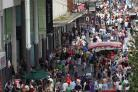 Shoppers in Above Bar Southampton high street for business shopping feature - outside WestQuay.