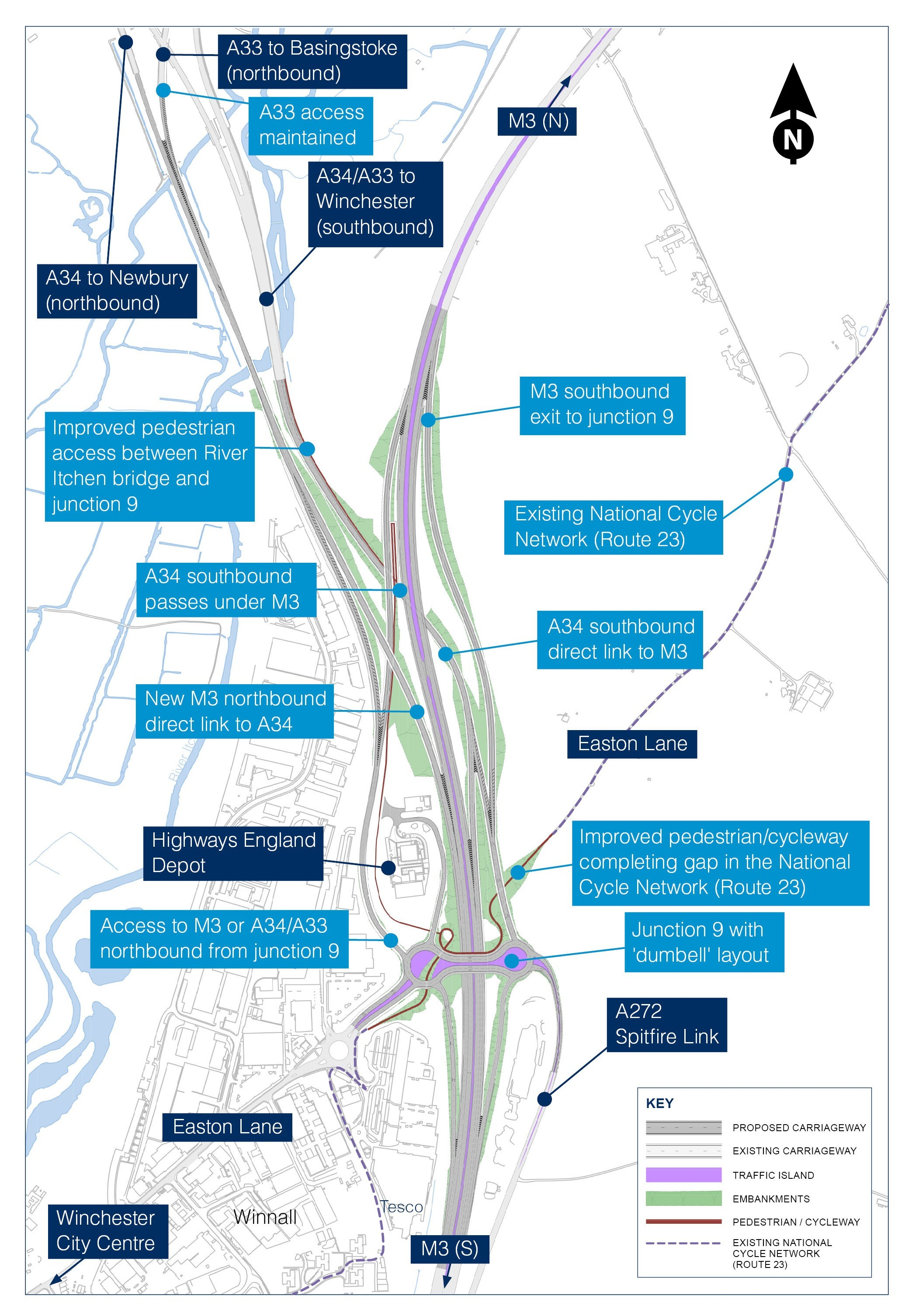 Proposal for Junction 9 of M3. Image by Highways England