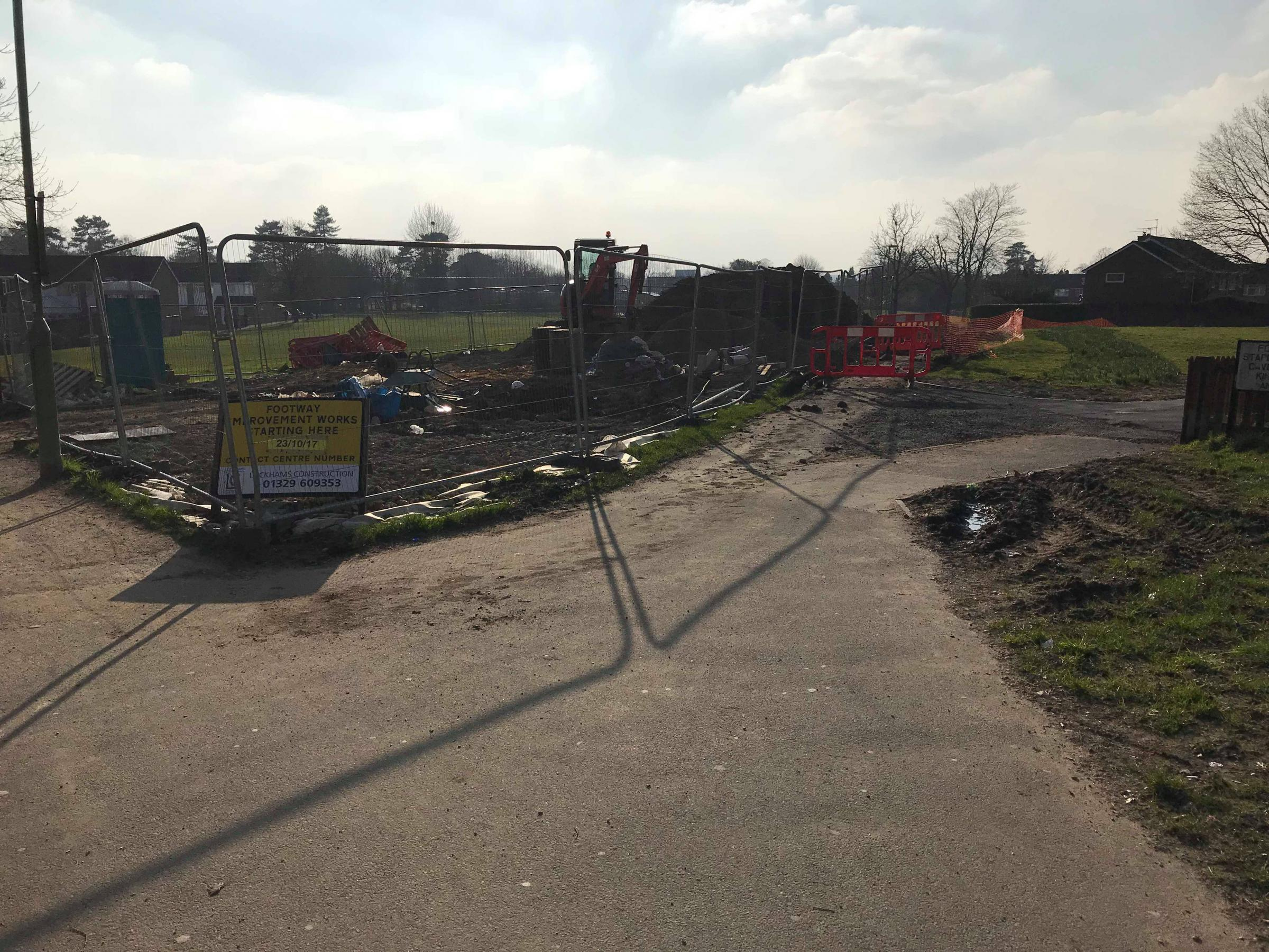 The state some of the project for the Abbotswood Accesibility scheme has been left in