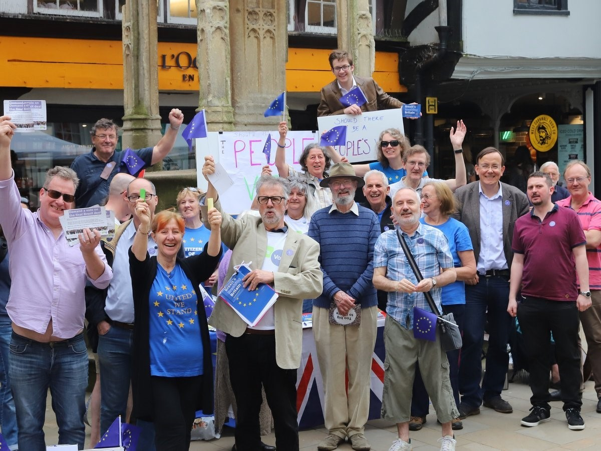 Pro-EU campaigners at the Buttercross