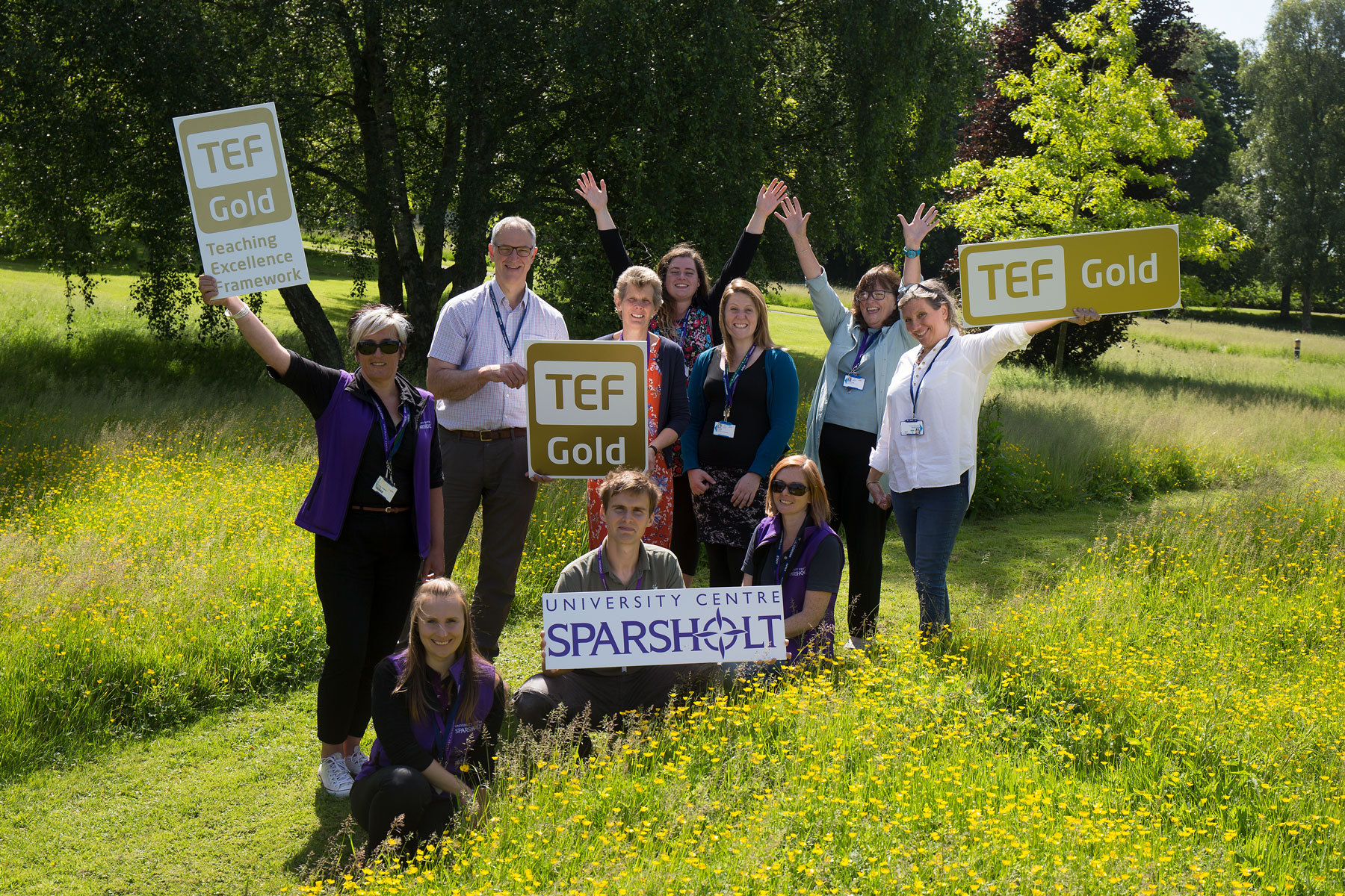 Staff at Sparsholt College's University Centre celebrate the award