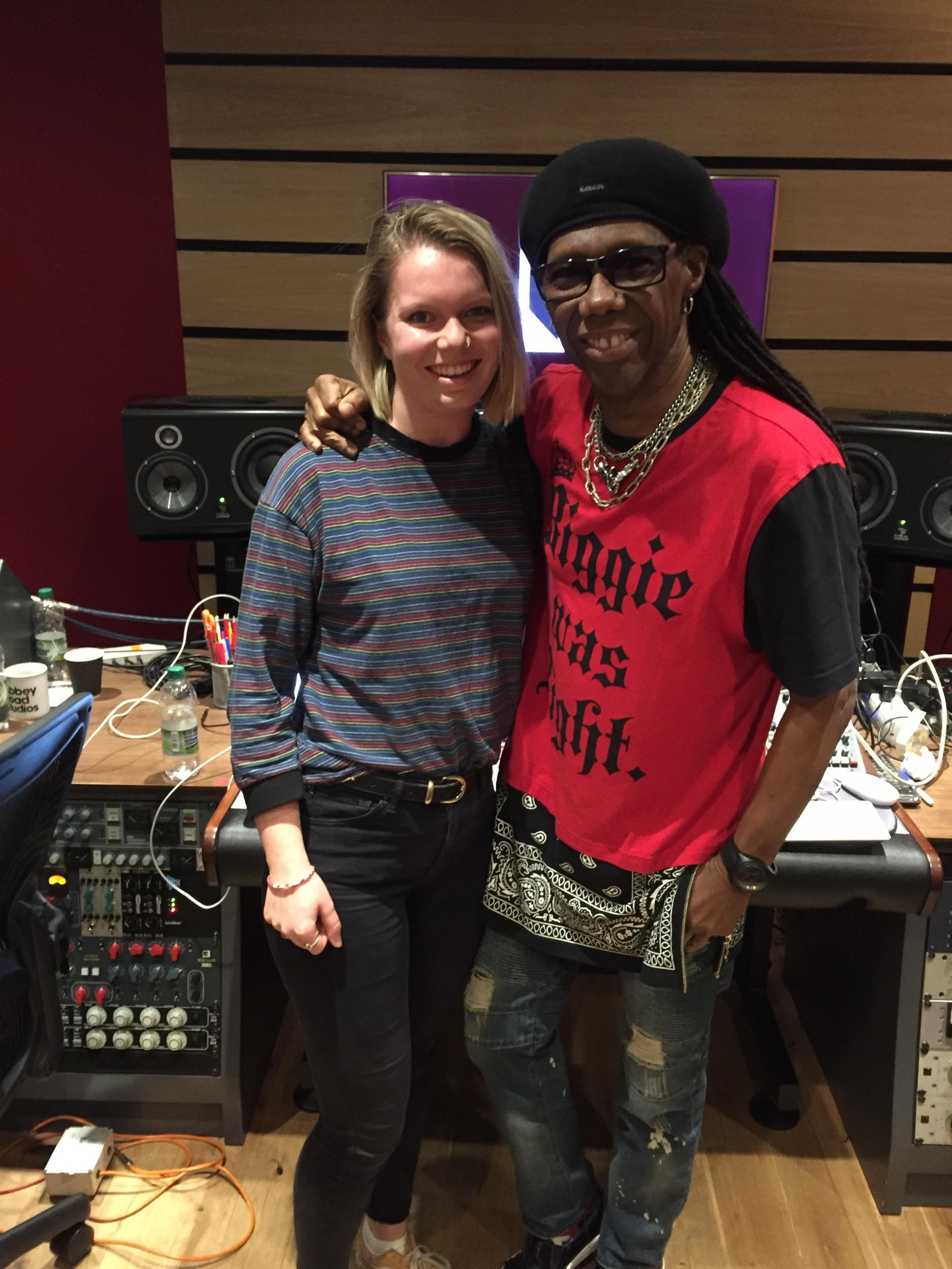 Alice Bennett and Nile Rodgers at Abbey Road Studios