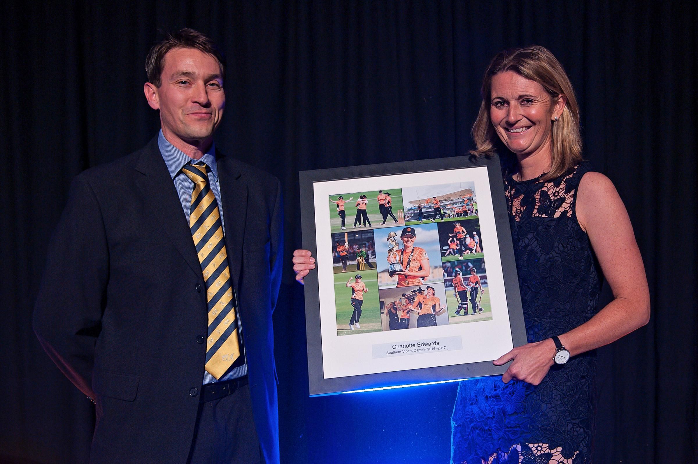 Nick Denning presents Charlotte Edwards with a retirement gift at the end of last season (Photo: Dave Vokes)