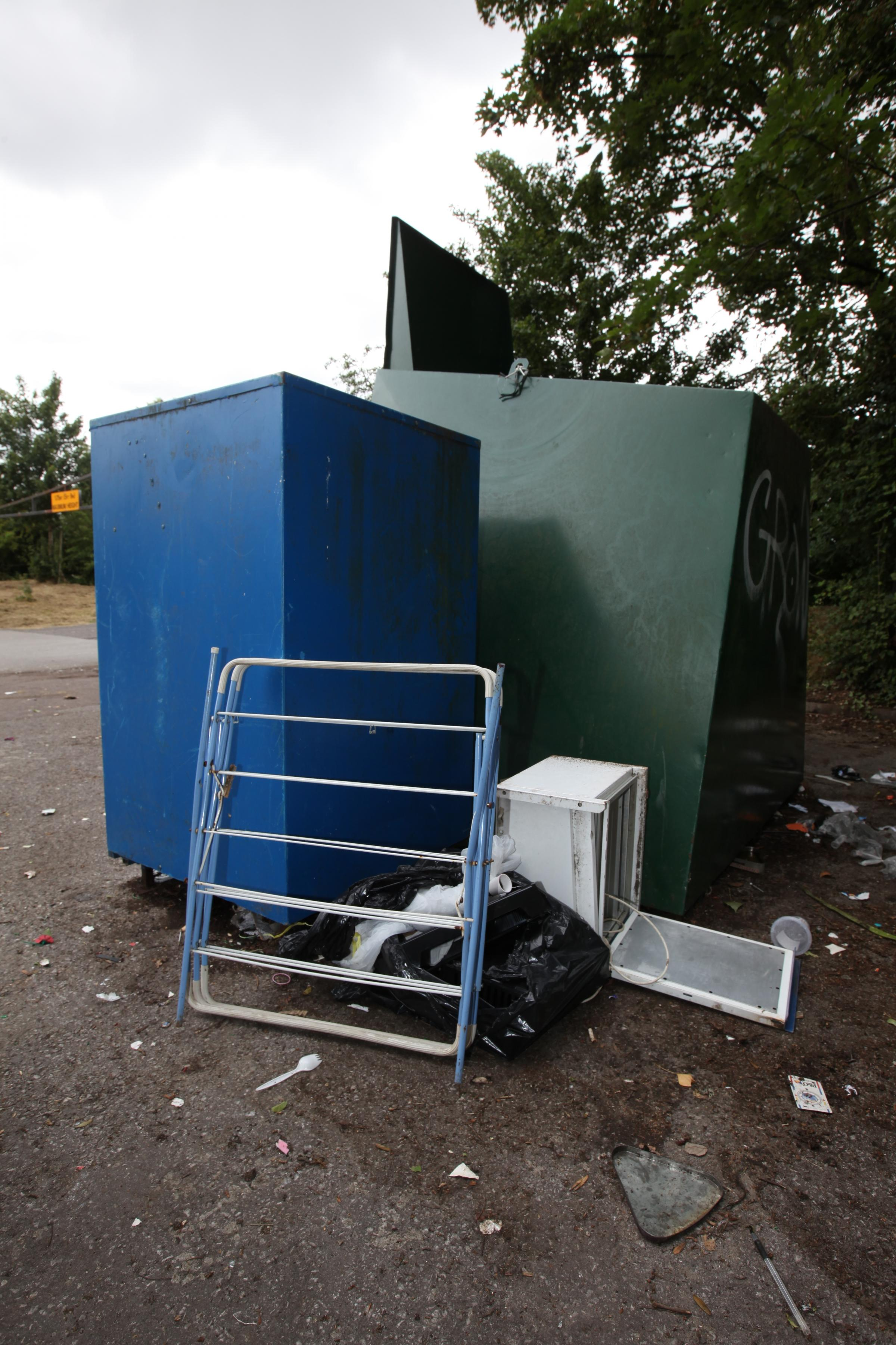 Rachel Adams 28.7.15 Fly tipping at the car park on Woodmill Lane, Soton. pictured: dumped rubbish.