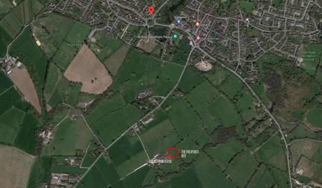 The proposed site of the power station, on land next to Locks Farm, Bishop's Waltham. Photo: Google