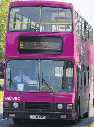 One of Velvet's recognisable purple buses
