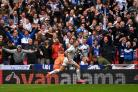 James Norwood scores for Tranmere at last season's National League play-off final