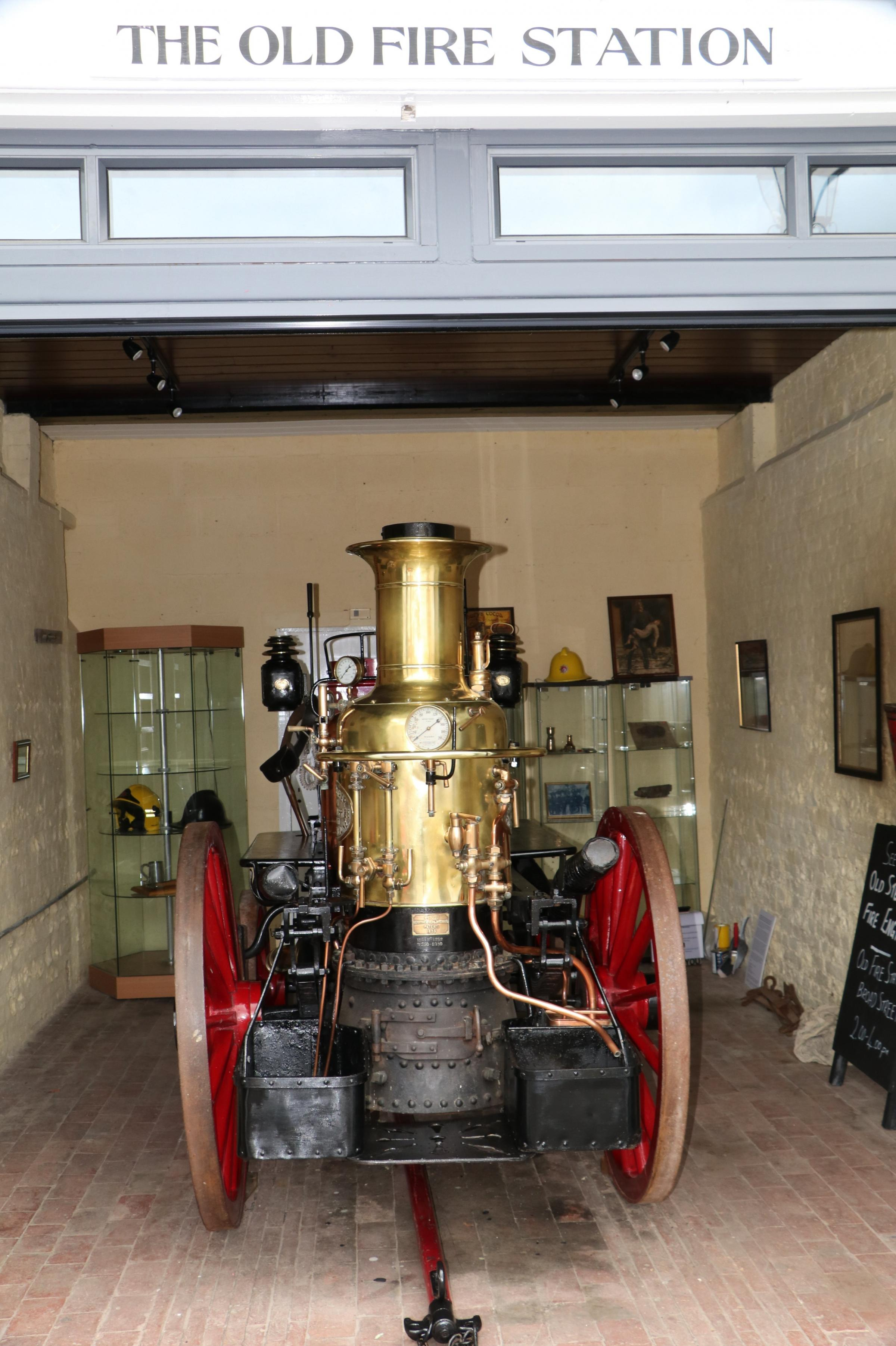 The freshly polished Old Steamer Fire Engine at the Old Fire Station, Broad Street, Alresford