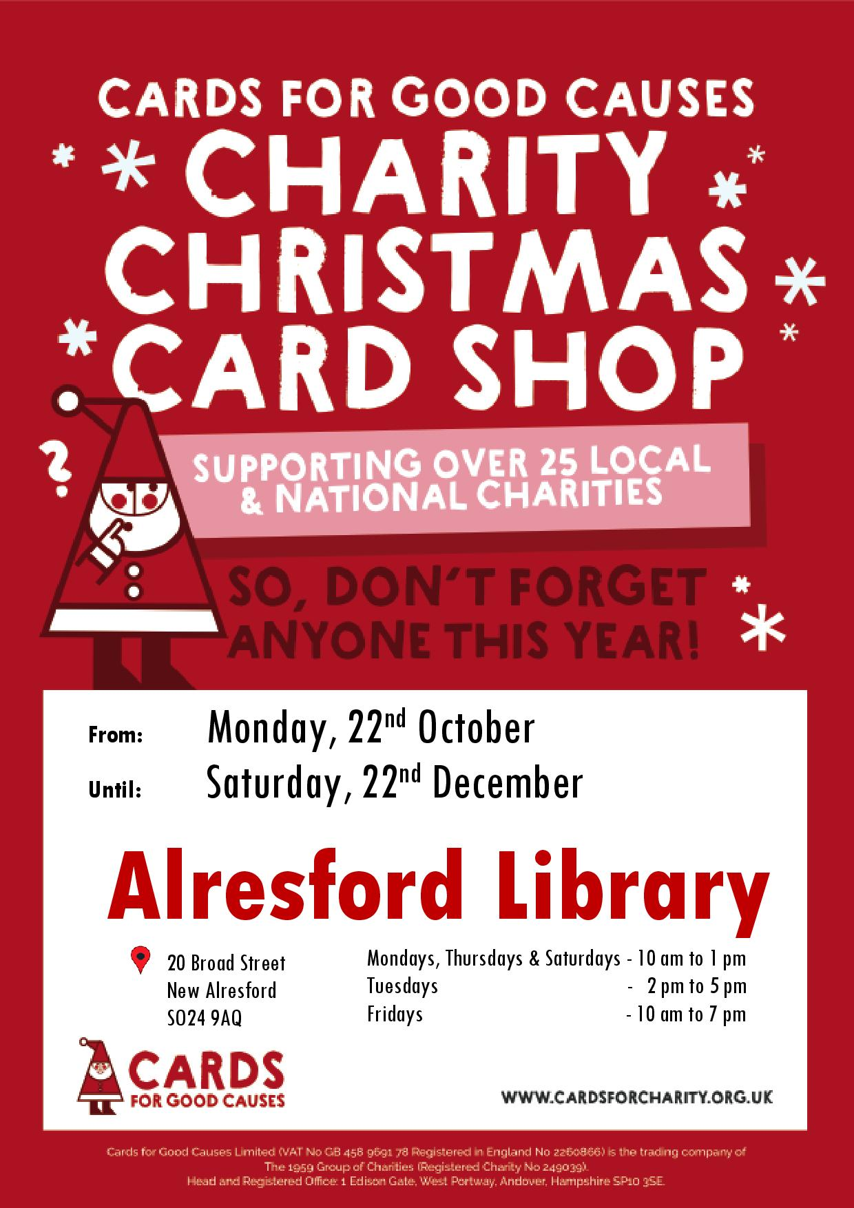 Charity Christmas Card Pop-Up in Alresford Library