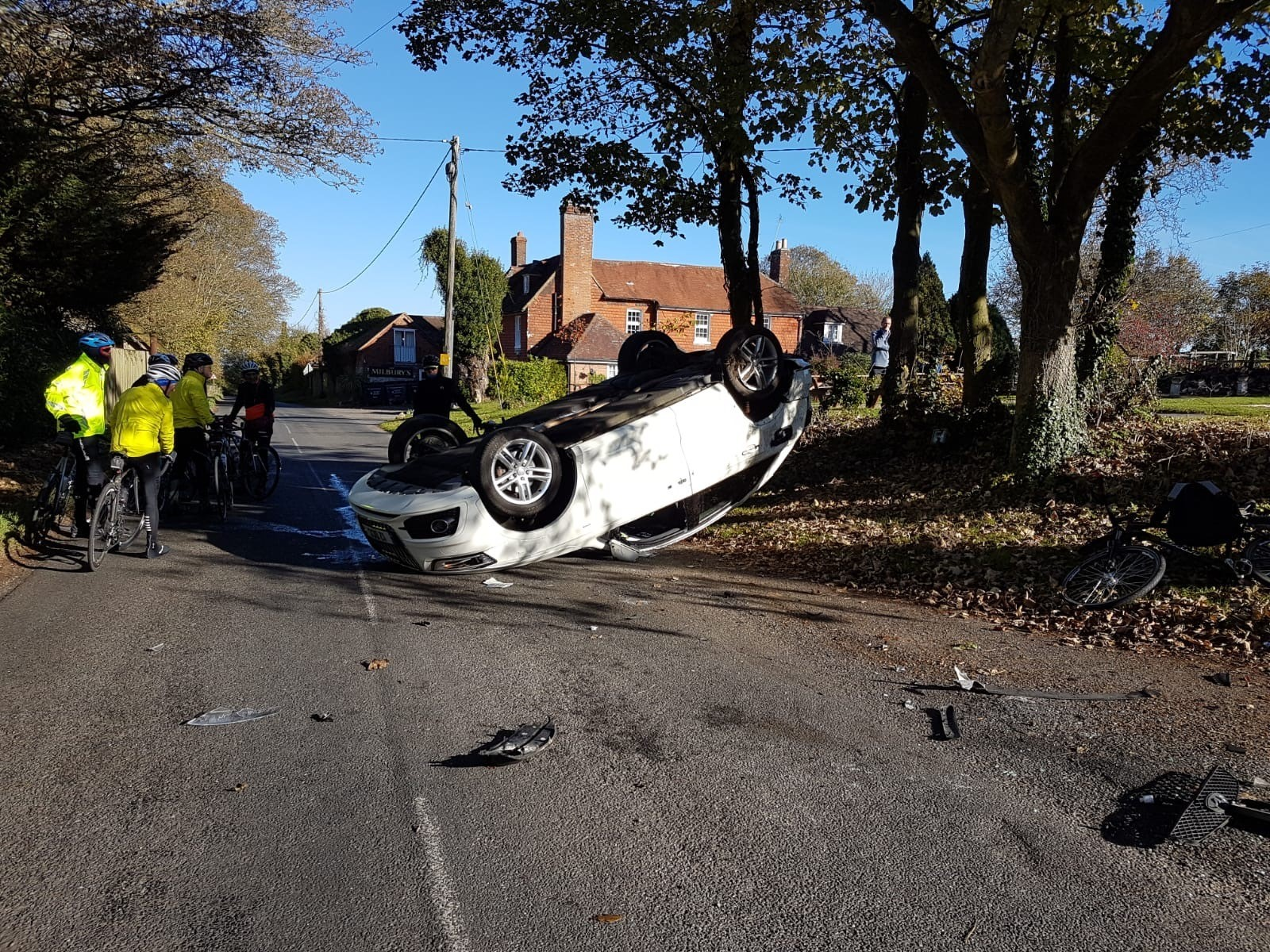 The latest crash at the Milbury's crossorads at Beauworth, near Alresford