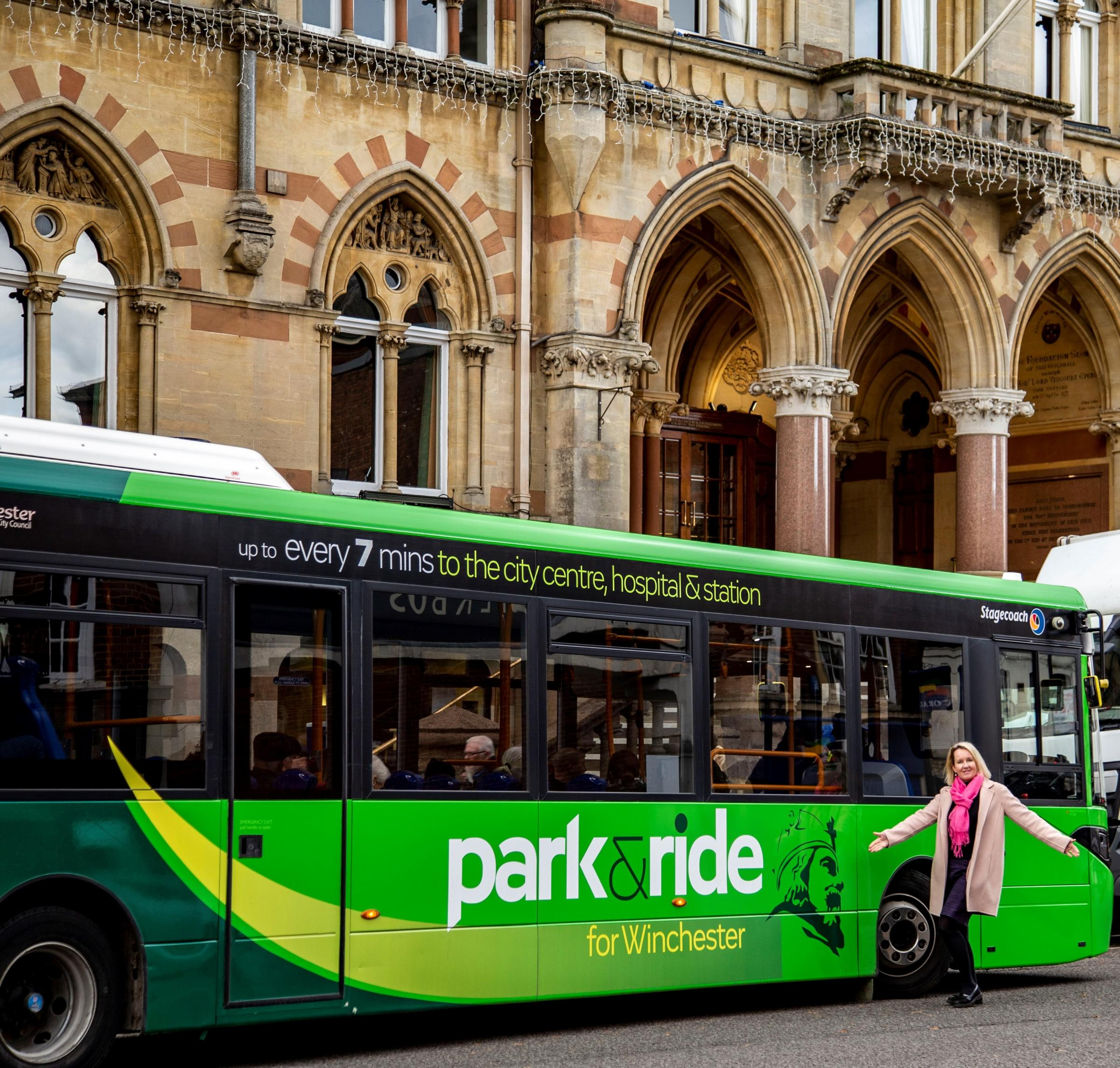 Councillor Warwick and a Park and Ride bus