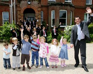 DELIGHTED: Deputy head teacher Paul Nicholson with children from the nursery school and Westgate School.  Echo picture by Chris Moorhouse. Order no: 8576569