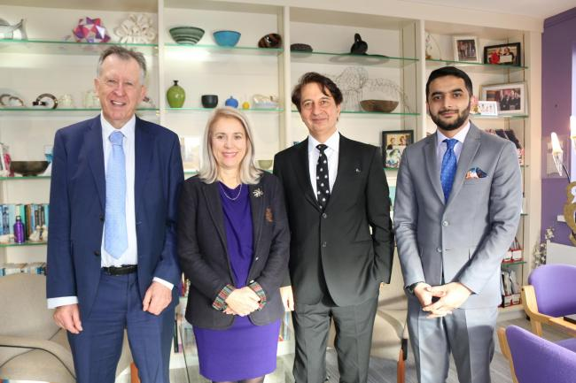 (L to R): Professor Adrian Kendry, Professor Joy Carter, His Excellency Said T Jawad, and diplomat Naveed Noormal.