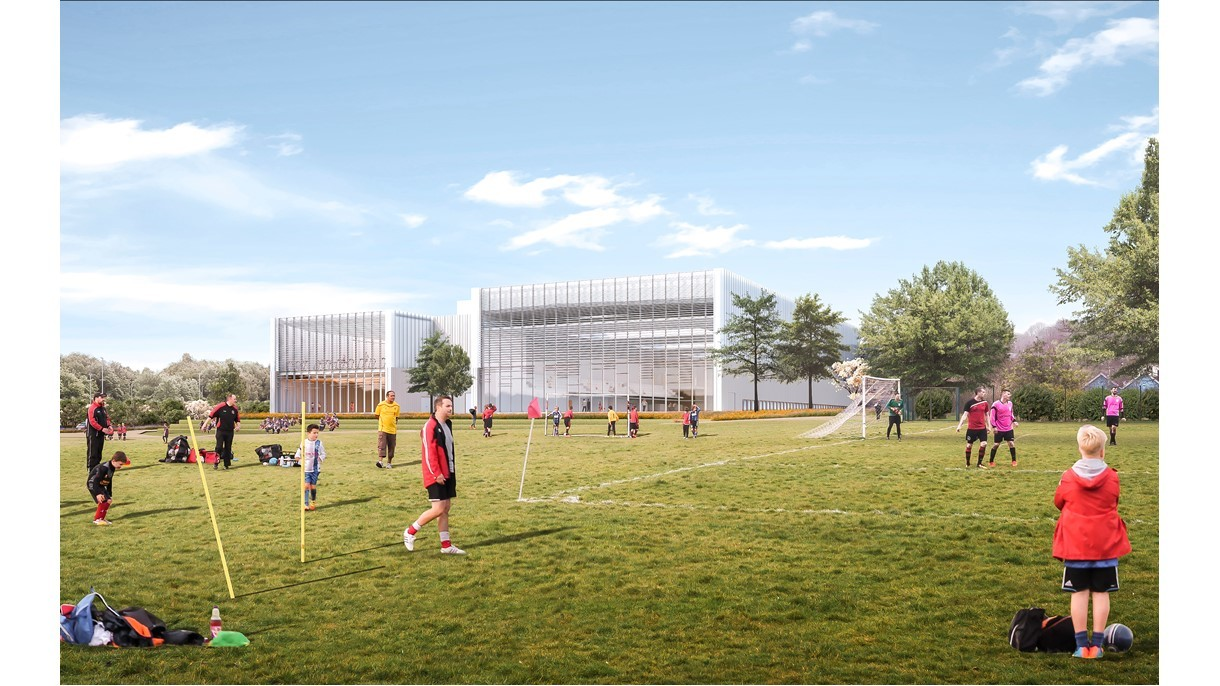 Artist's impressions of how the new Winchester Sports and Leisure Centre could look.