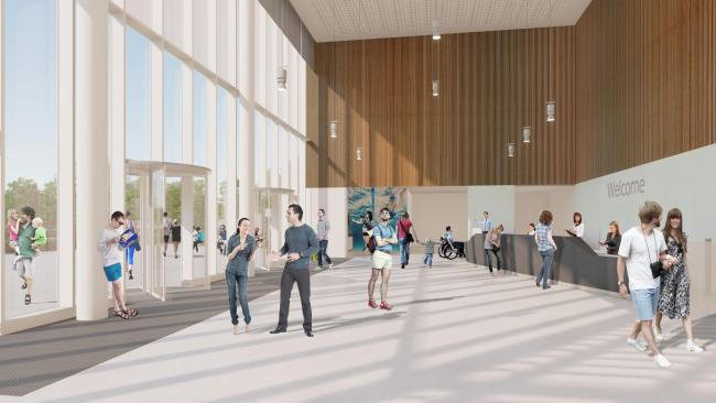 An artist's impression of the new Winchester leisure centre foyer.
