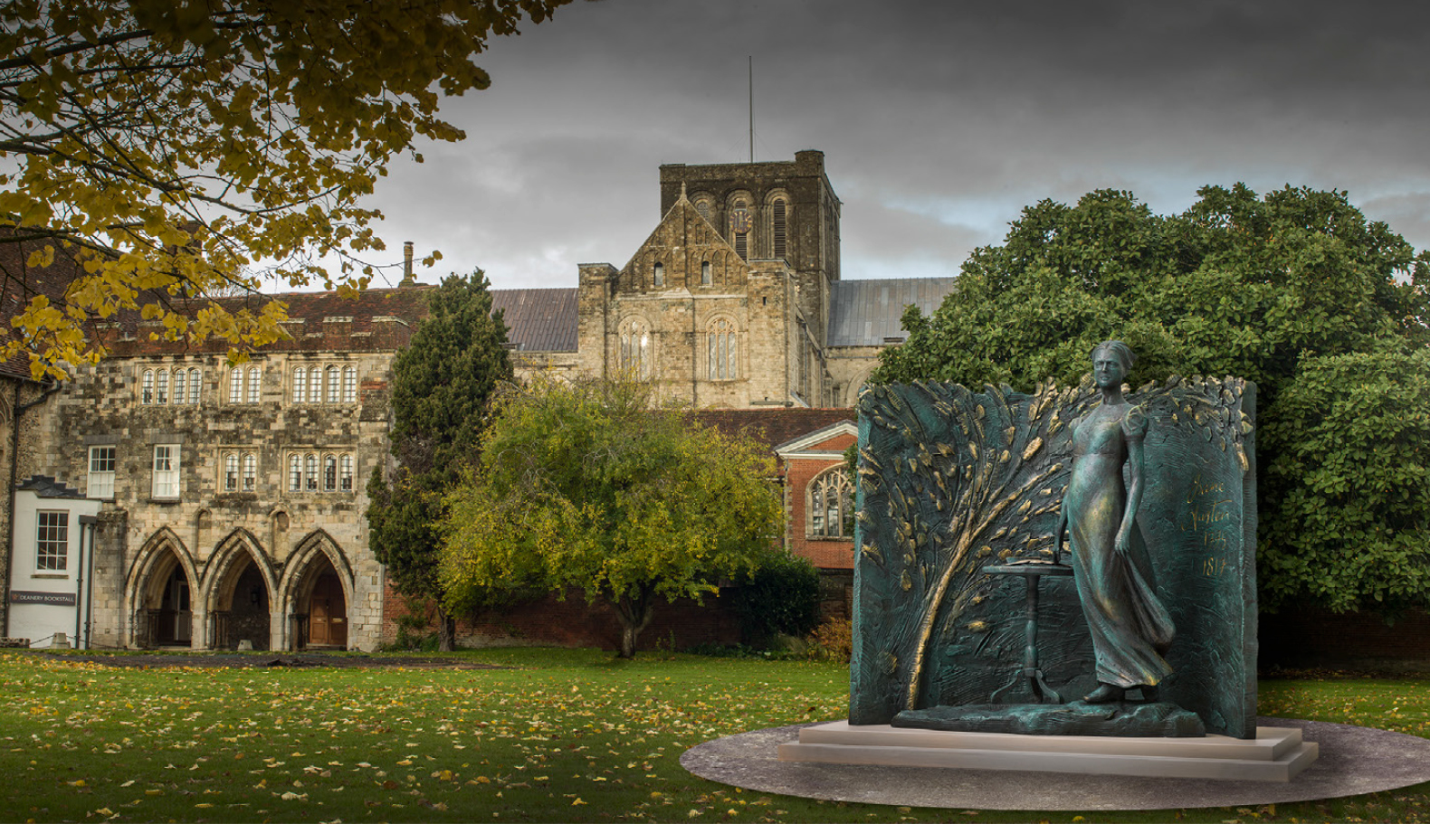 A CGI of the Jane Austen statue proposed for Winchester Cathedral Inner Close, autumn 2018
