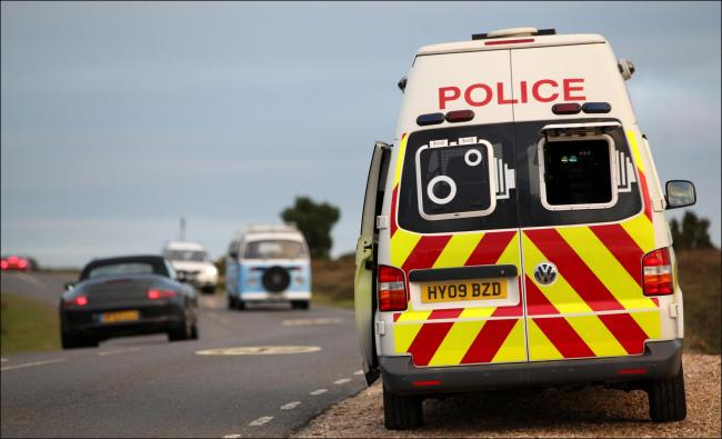 Hampshire Police in the New Forest with the new infrared night speed camera van..