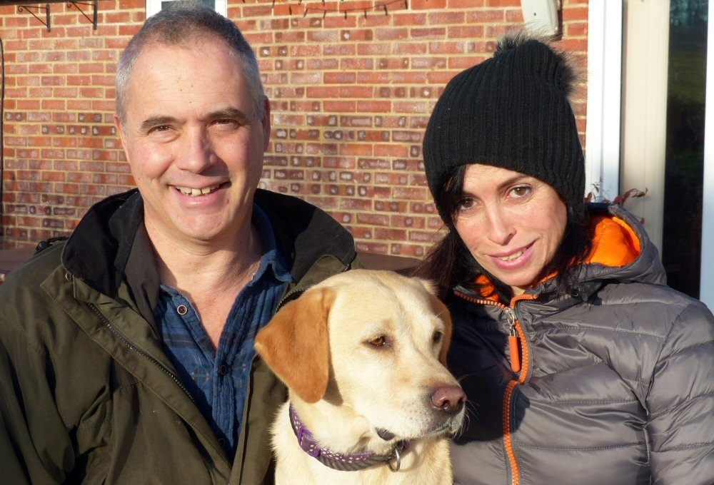 Paul and Mel Bliss of Gay Dog Boarding Kennels withfaithful hound Nina